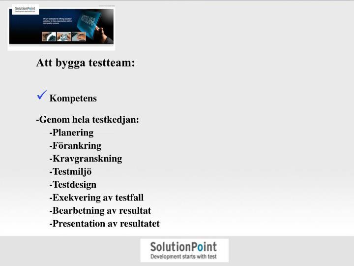 Att bygga testteam: