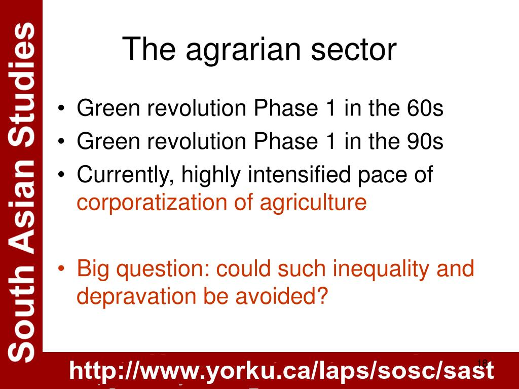 The agrarian sector
