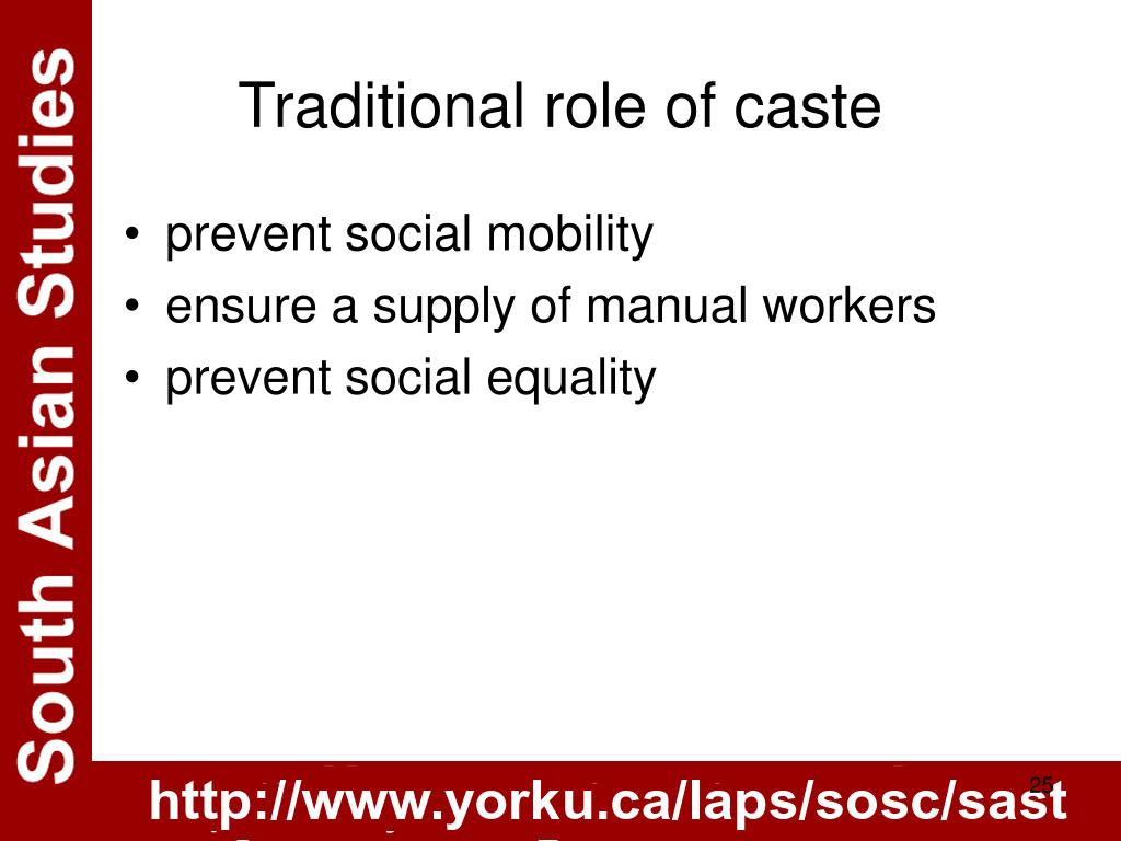Traditional role of caste