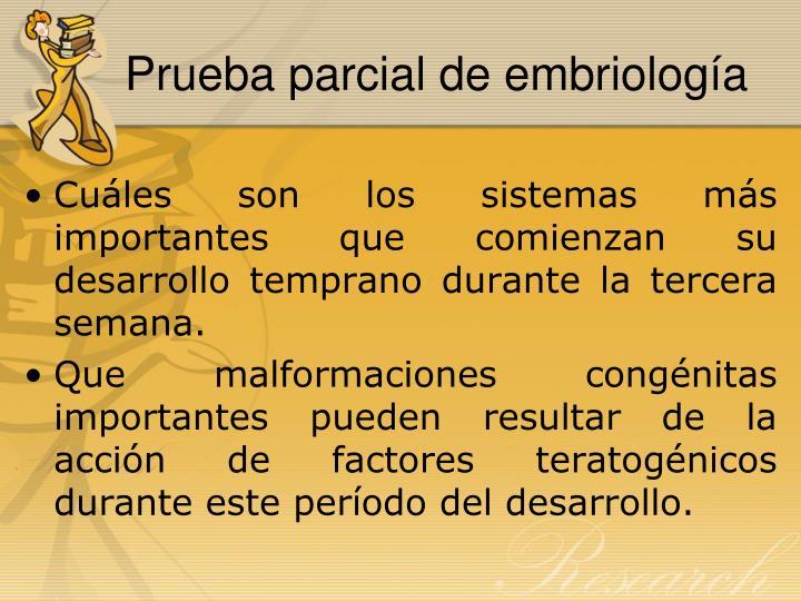 Prueba parcial de embriología