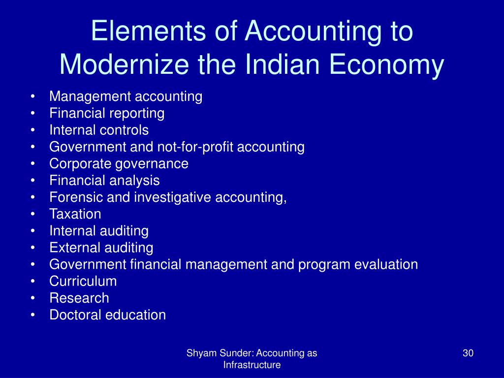 Elements of Accounting to Modernize the Indian Economy