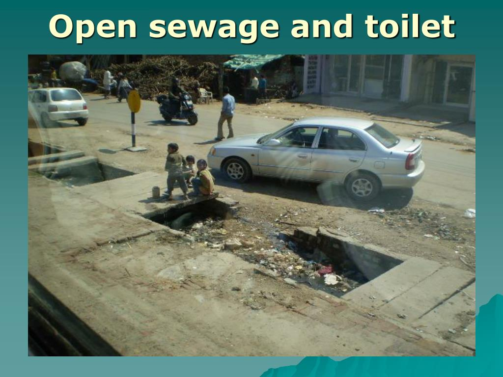 Open sewage and toilet