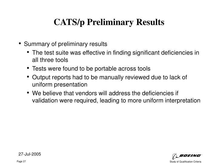 CATS/p Preliminary Results