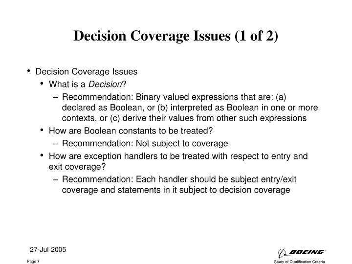 Decision Coverage Issues (1 of 2)