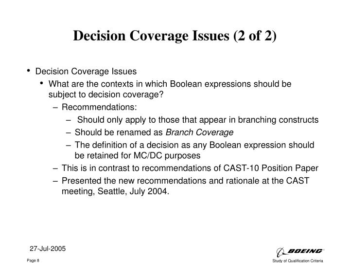 Decision Coverage Issues (2 of 2)