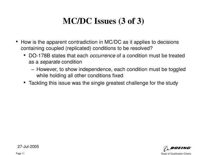 MC/DC Issues (3 of 3)