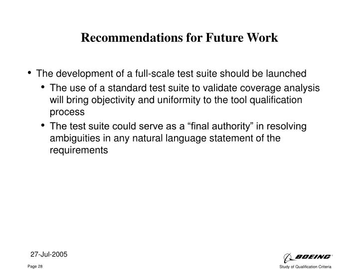 Recommendations for Future Work