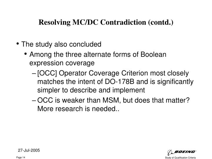 Resolving MC/DC Contradiction