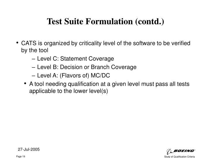 Test Suite Formulation