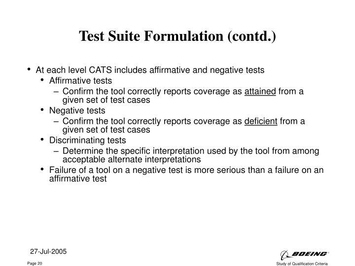 Test Suite Formulation