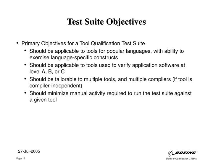 Test Suite Objectives