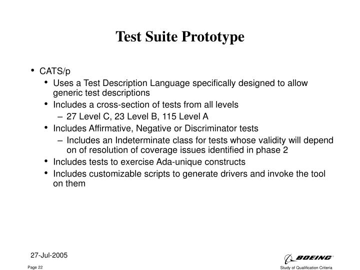 Test Suite Prototype