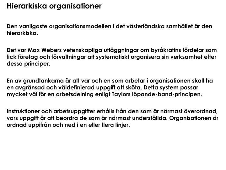 Hierarkiska organisationer