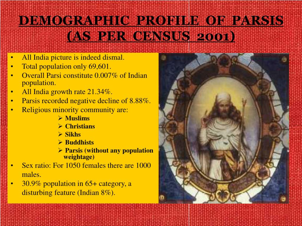 DEMOGRAPHIC  PROFILE  OF  PARSIS (AS  PER  CENSUS  2001)