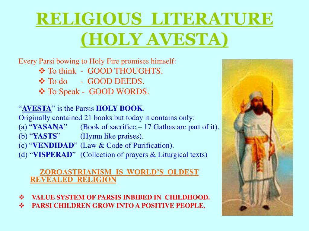 RELIGIOUS  LITERATURE  (HOLY AVESTA)