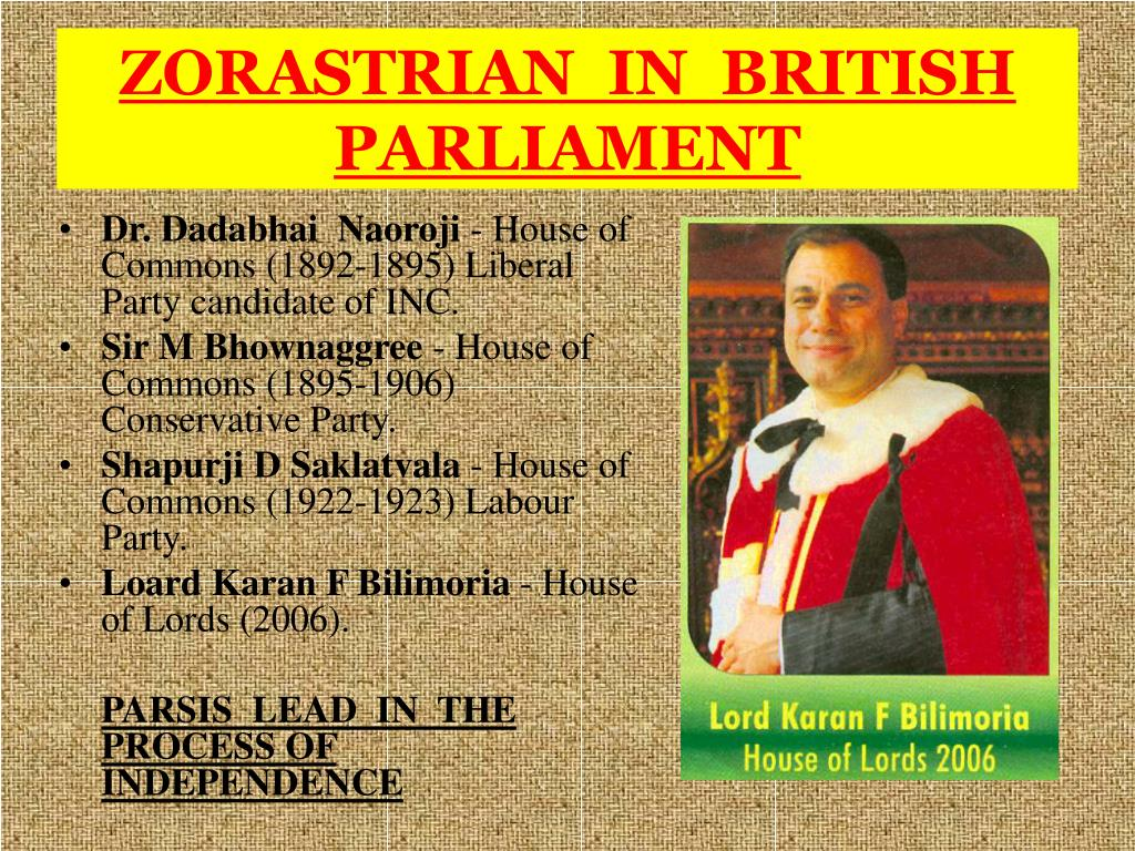 ZORASTRIAN  IN  BRITISH PARLIAMENT