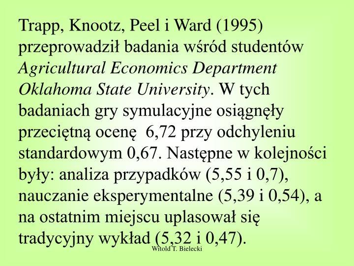 Trapp, Knootz, Peel i Ward (1995) przeprowadził badania wśród studentów