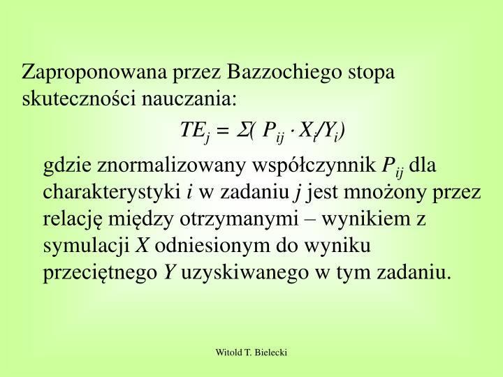 Zaproponowana przez Bazzochiego stopa skuteczności nauczania: