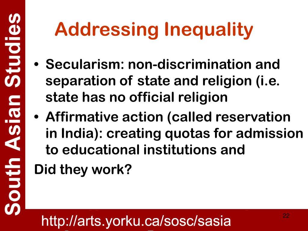 Addressing Inequality