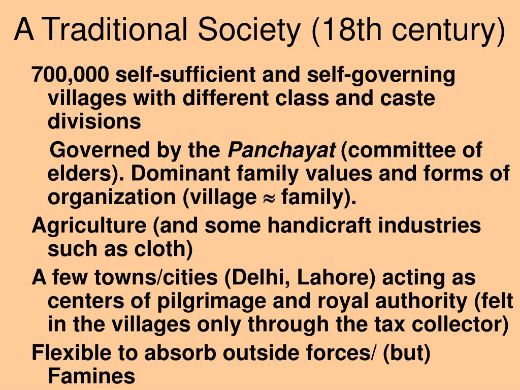 A Traditional Society (18th century)