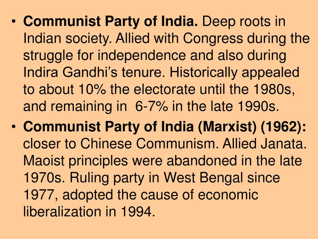 Communist Party of India.