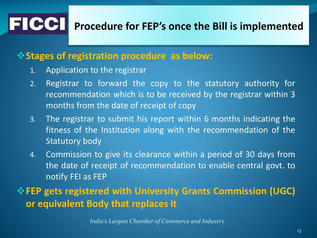 Procedure for FEP's once the Bill is implemented
