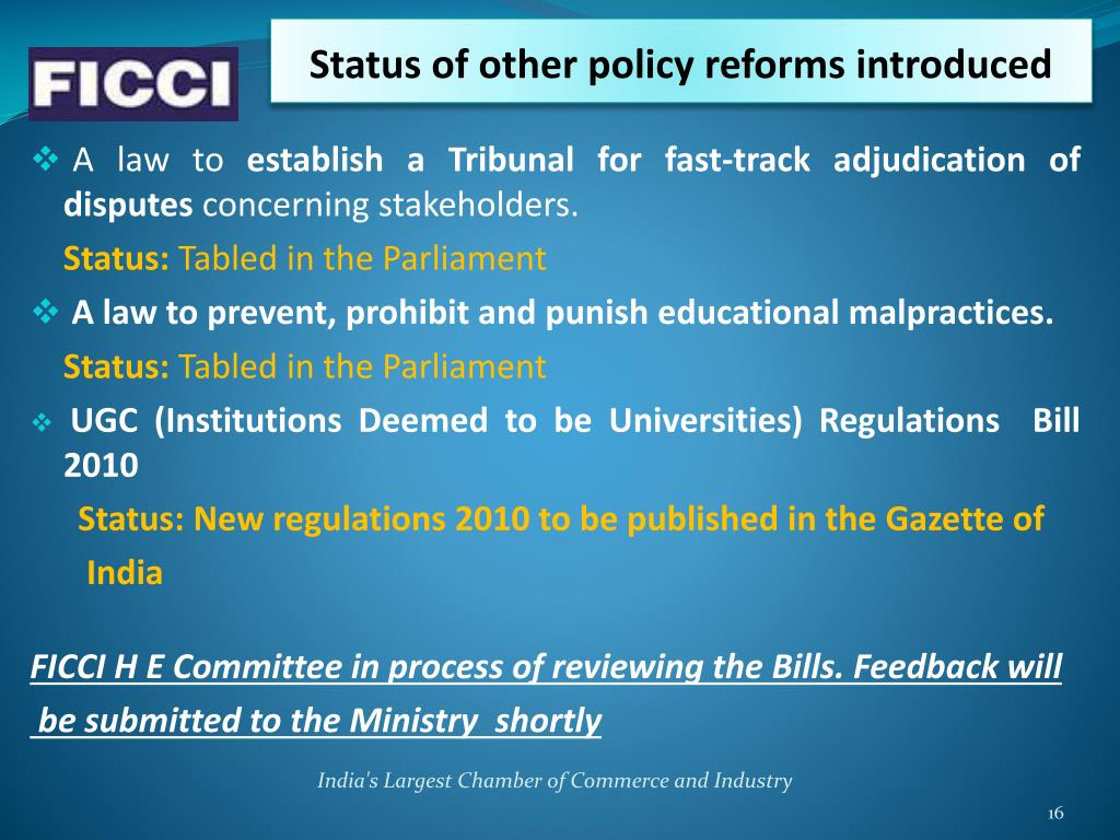 Status of other policy reforms introduced