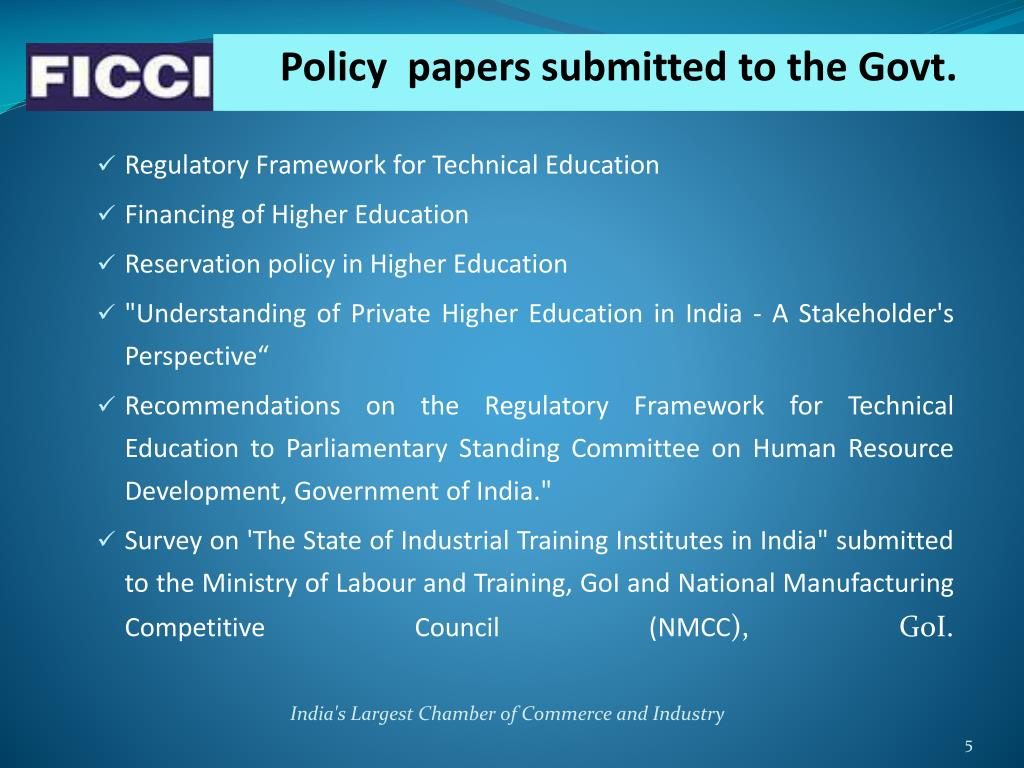 Policy  papers submitted to the Govt.