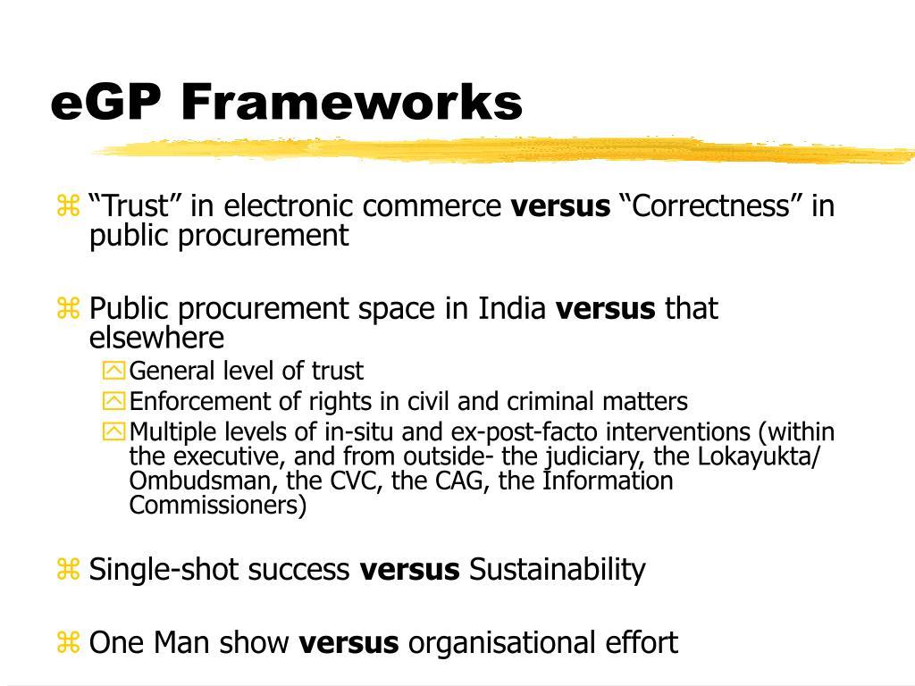 eGP Frameworks