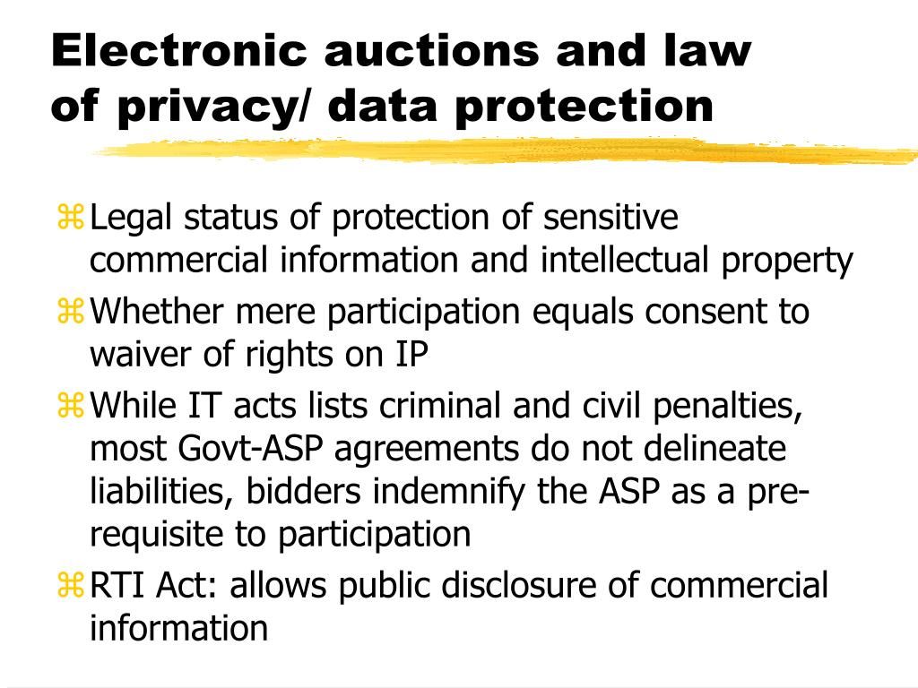 Electronic auctions and law of privacy/ data protection