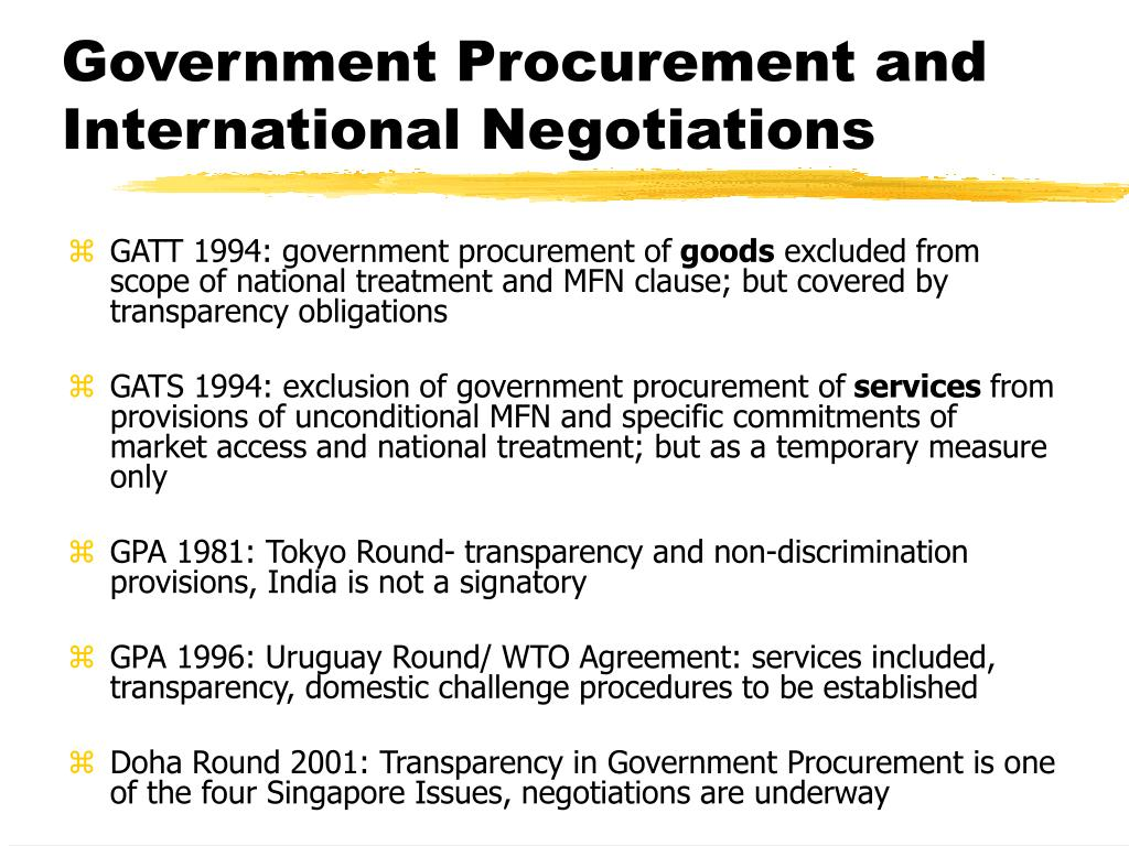 Government Procurement and International Negotiations