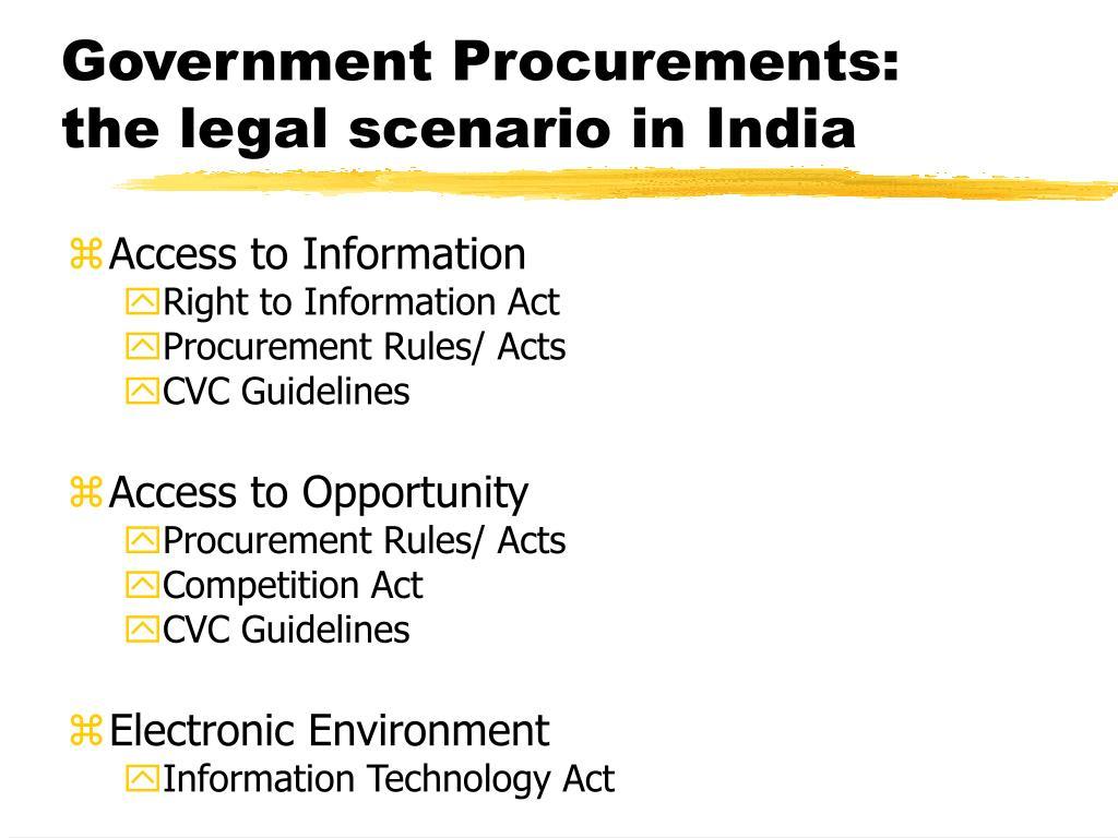 Government Procurements: the legal scenario in India