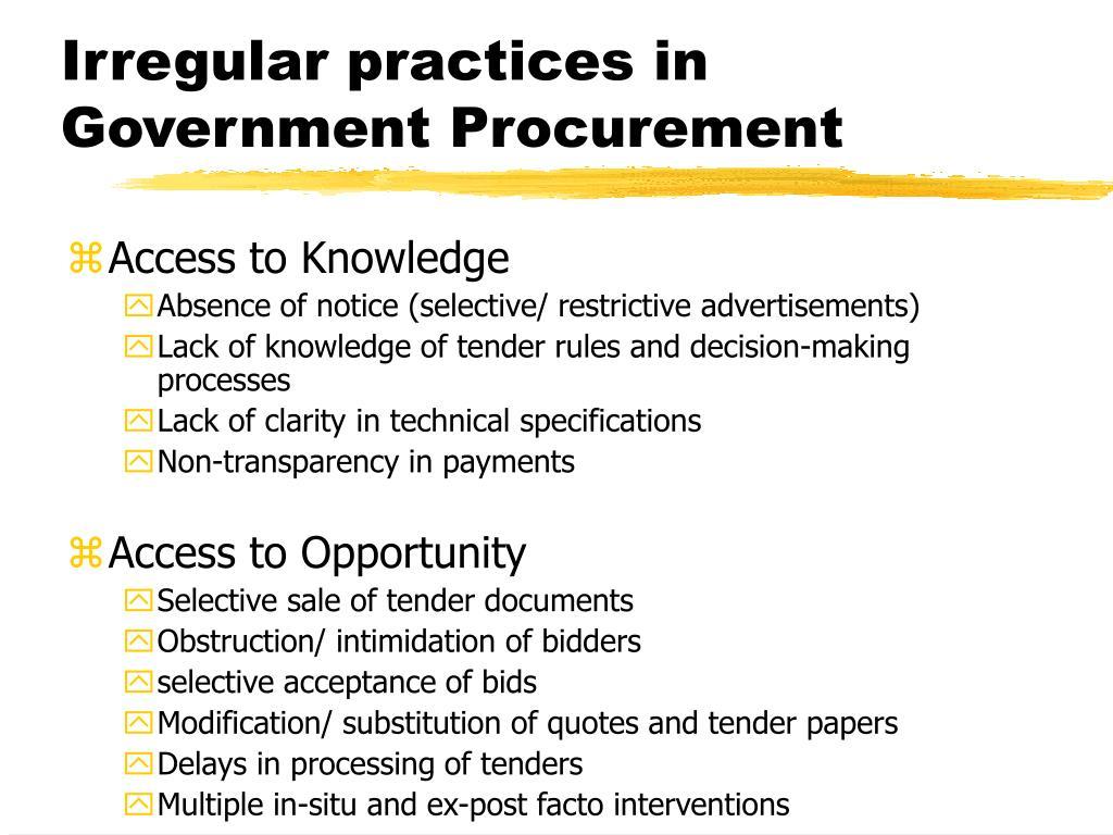 Irregular practices in Government Procurement