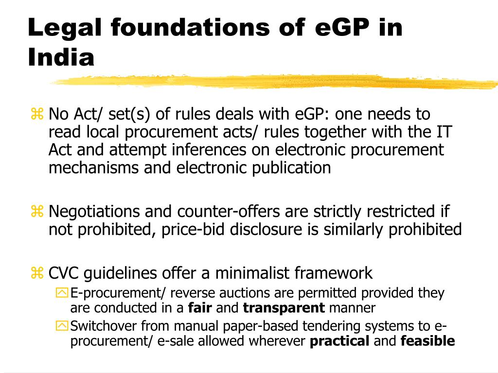 Legal foundations of eGP in India