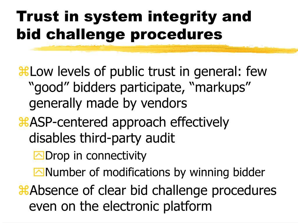 Trust in system integrity and bid challenge procedures