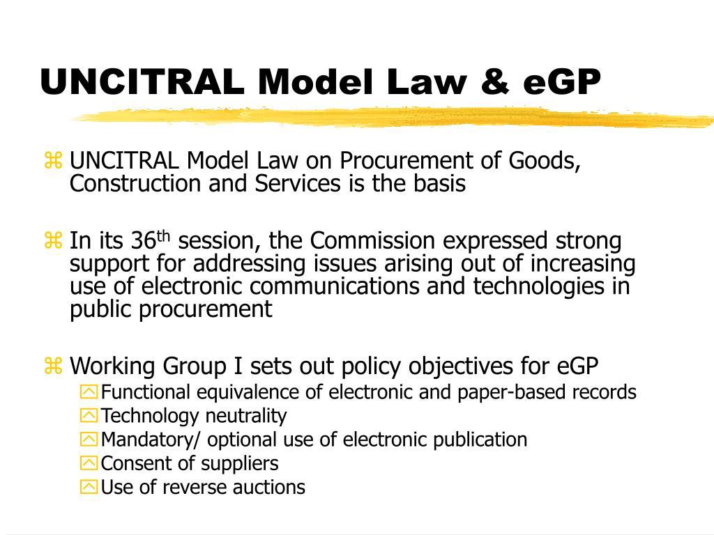 UNCITRAL Model Law & eGP