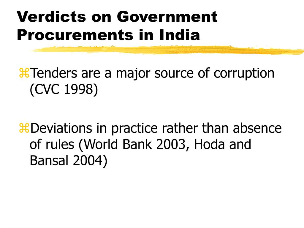 Verdicts on Government Procurements in India