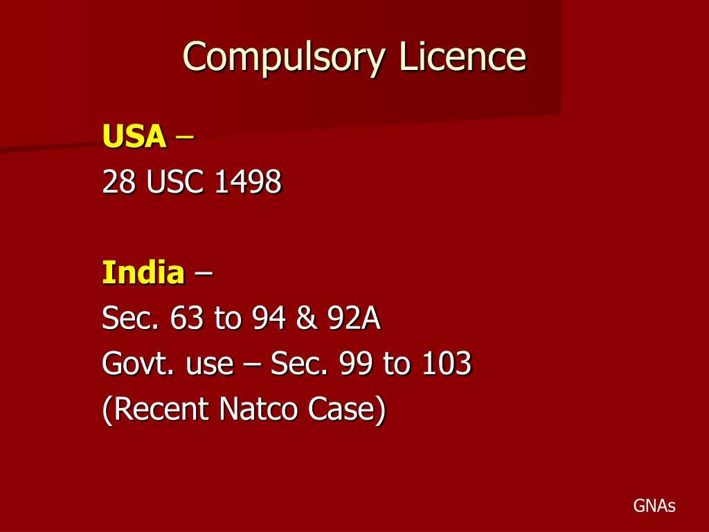 Compulsory Licence