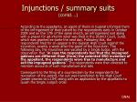 injunctions summary suits contd
