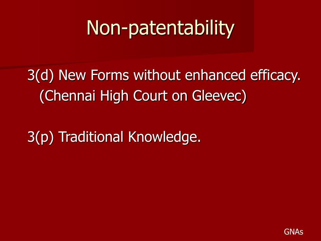 Non-patentability