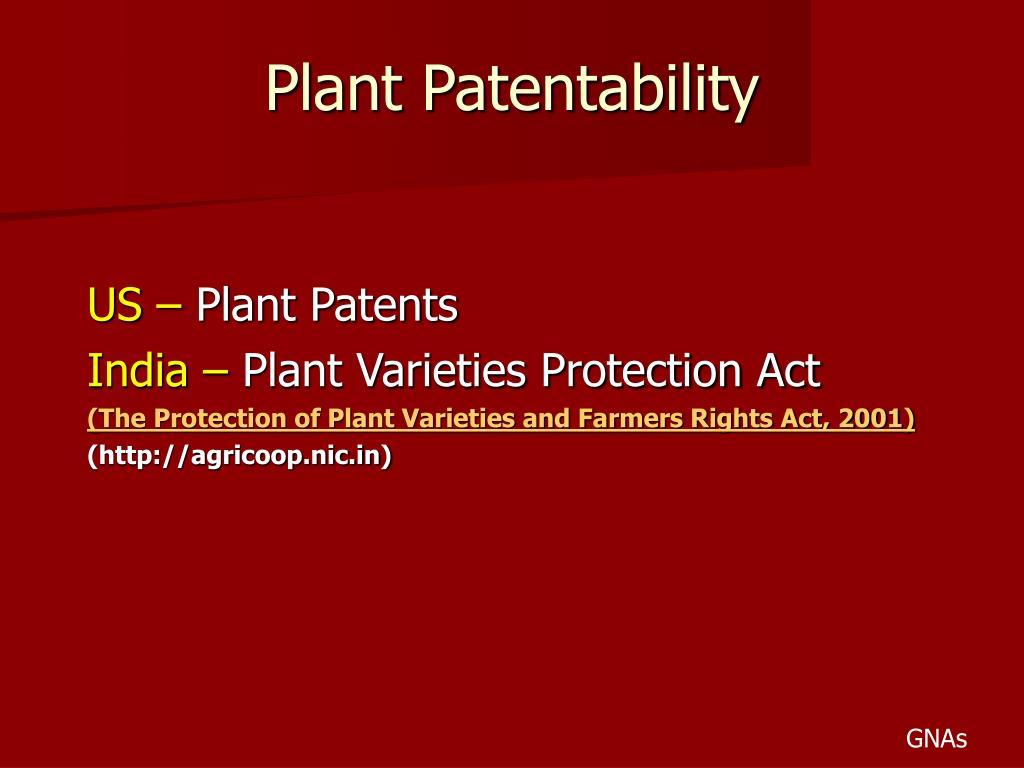 Plant Patentability