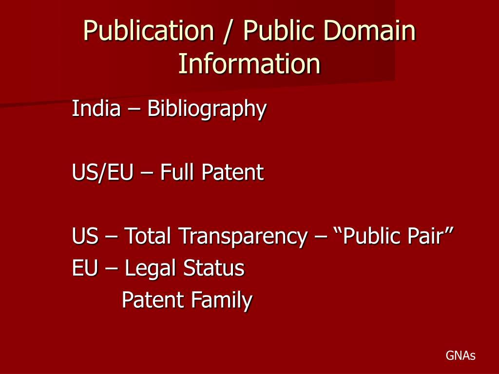 Publication / Public Domain Information
