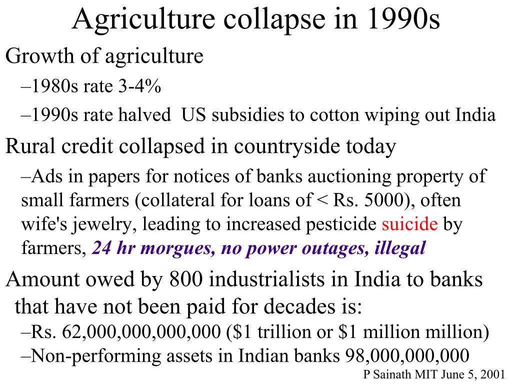Agriculture collapse in 1990s