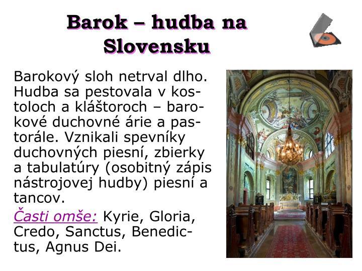 Barok – hudba na Slovensku