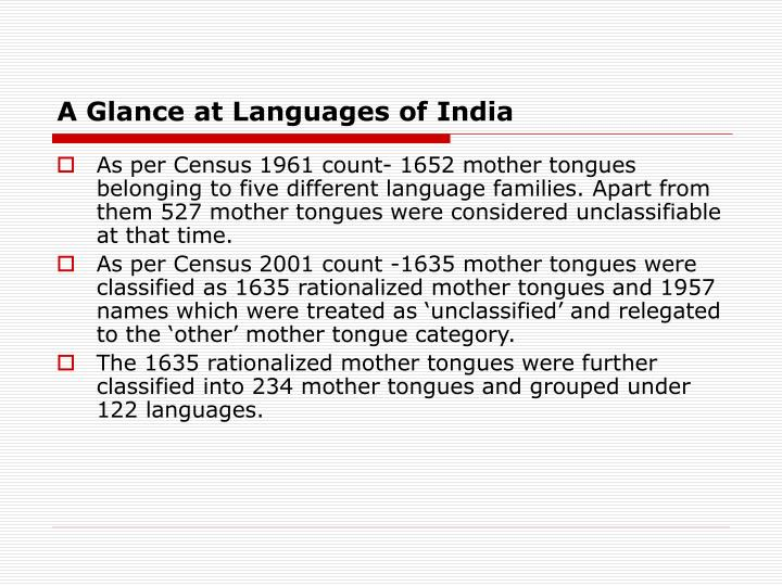 A glance at languages of india