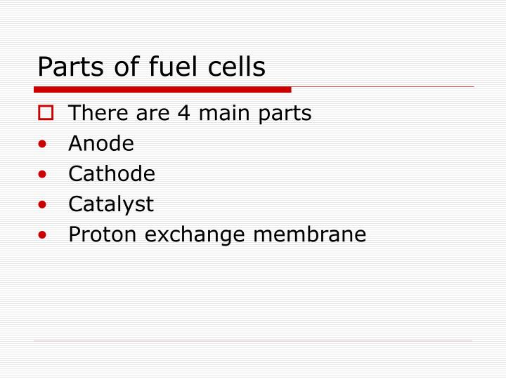 Parts of fuel cells