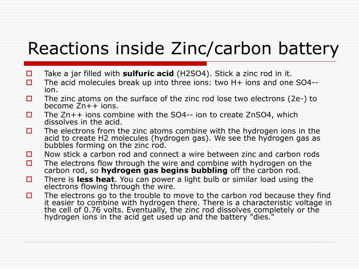 Reactions inside Zinc/carbon battery