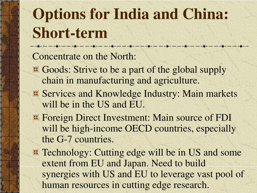 Options for India and China: Short-term