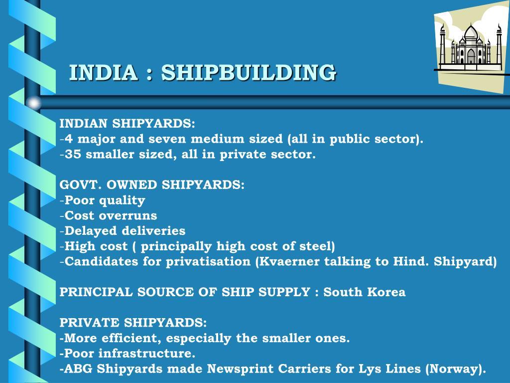 INDIA : SHIPBUILDING