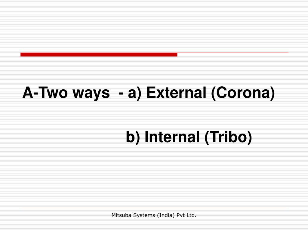 A-Two ways  - a) External (Corona)